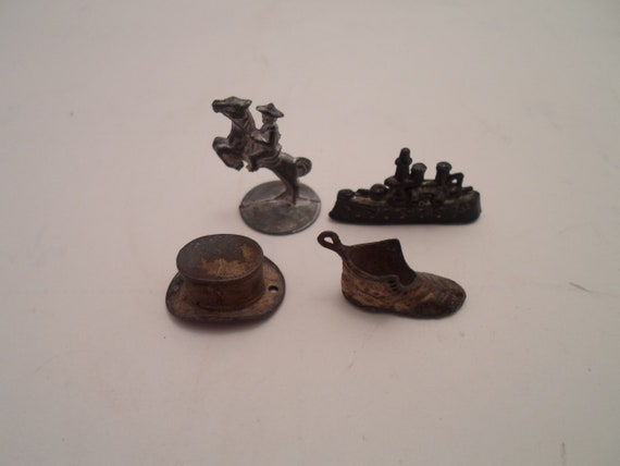 Antique Metal Monopoly Game Pieces WWII Era Cowboy on Horse Battleship Top hat Shoe Early 1940's