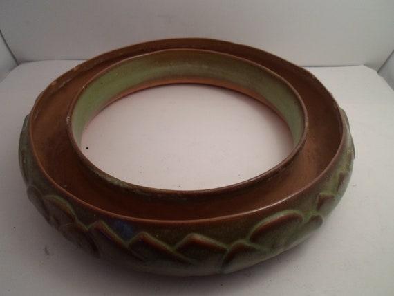 Vintage Large Pottery Bulb Planting Bowl Beautiful Earthy Tones Enchanting Pattern Amaryllis Babiana