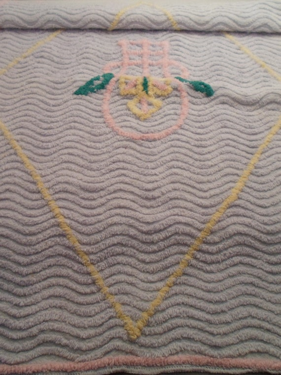Antique Original Art Deco Era Doll Bed Chenille Blanket Absolutely Adorable Small Scale Design Very Rare