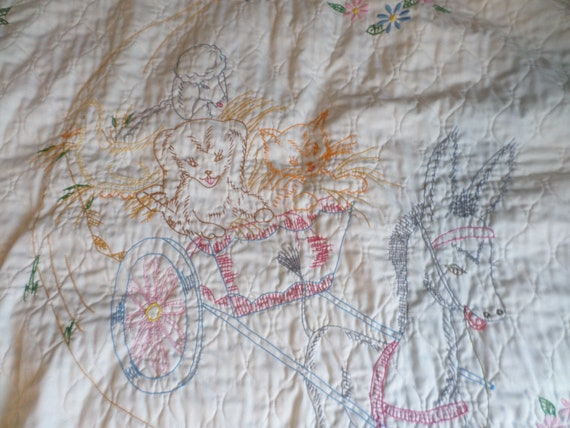 Vintage hand made baby quilt blanket donkey carriage, bunny, cat, ducks lamb 60's