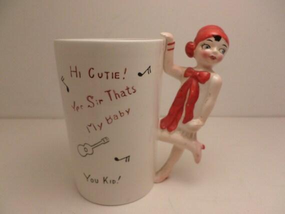 Vintage 50's retro roaring 20's mug Deco flapper girl Shafford label