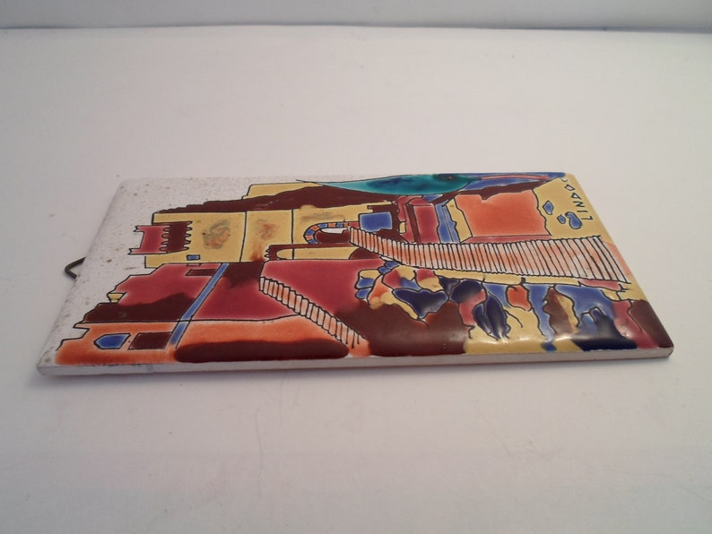 Lindos Keramic Tile Vintage Folk Art Archaeolgical site Stunning Colors and Glaze  Wall Hanger Mid Century Chic Hand Made and Painted