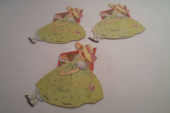 Art Deco Maiden in Straw Hat 3 Bridge Tally Cards Deco Design Clothing Use or Repurpose
