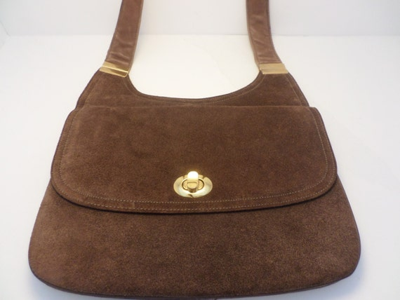 Vintage Susan Gail suede and leather saddlebag purse chocolate brown gold hardware