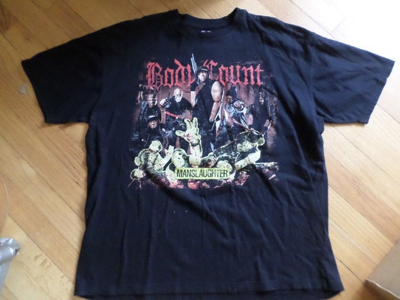 Thrift vintage Heavy Metal t shirt Ice T Body Count Manslaughter XL concert T shirt