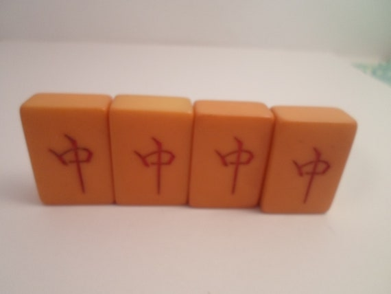 Vintage Bakelite 4 Mahjong Butterscotch Matching Game Tiles for Jewelry Making or Collection