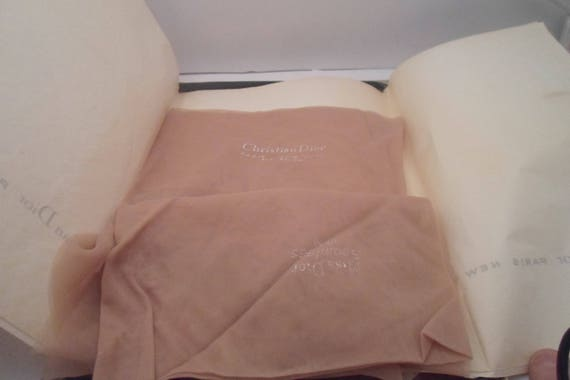 Vintage 1965 DIOR Nylon Stockings Original Box Christian Dior Bridal Boquet Beaded at top of ankle  Very Good Hoosery