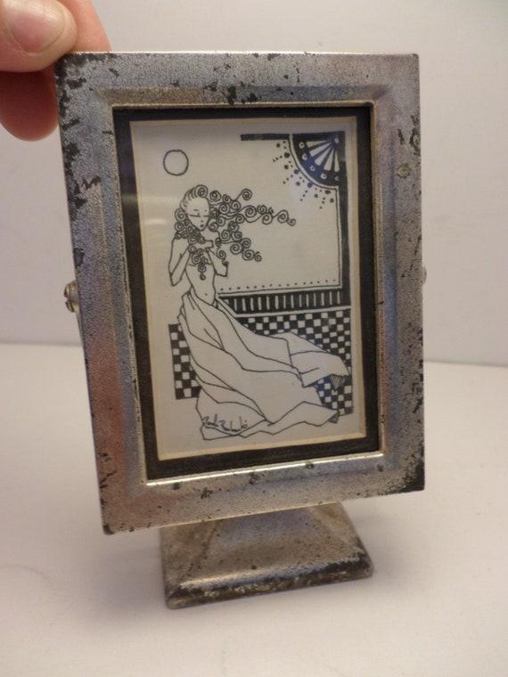 Vintage piece signed art from Chicago estate nude woman ink  framed