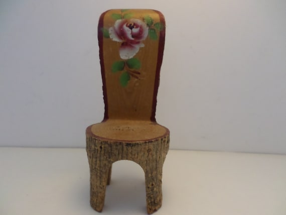 Vintage Folk Art carved log small chair hand painted rose Sweet!