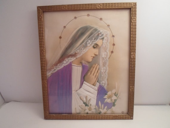 Art Deco Religious Picture Blessed Mother Mary Silk Netting Beads Hair Cord all Creating a Life Like Spiritual Effect of Grace Bo Ho