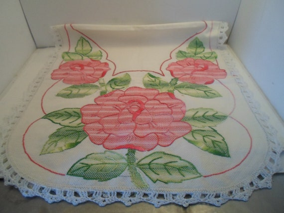 Art Deco WWII  Hand Crochet and Embroidered Linen Dresser Scarf Table Runner Giant Roses and Leaves Cottage or City Chic many stitches