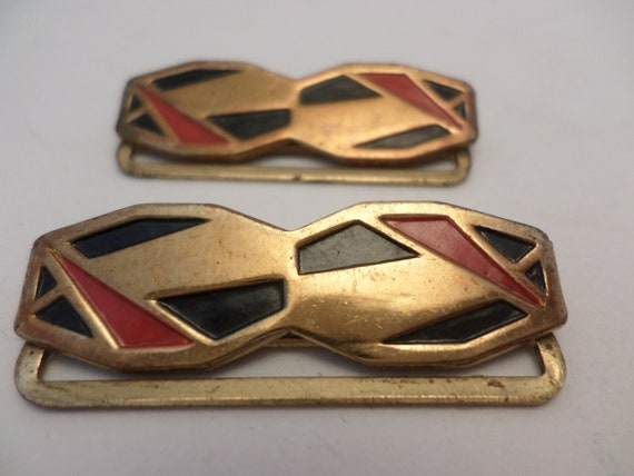 Vintage Art Deco 1920's black red gold metal hardware belt shoe clips jewelry part pioneer
