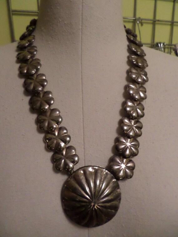 Vintage 80's Hawaiian honeymoon souvenir necklace Sterling overlay abstract leigh
