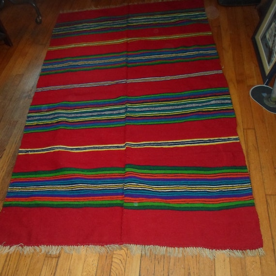 Mod Mid Century Scandinavian Swedish Danish Kilim Rug Estate Find in Chicago. Hand Made Wool Seam in the Center Stunning Wall Hanging