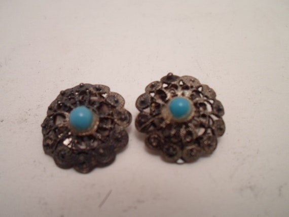 Antique Vintage Sterling Silver and Turquoise Clip Earrings Charming Hand Made Button Style
