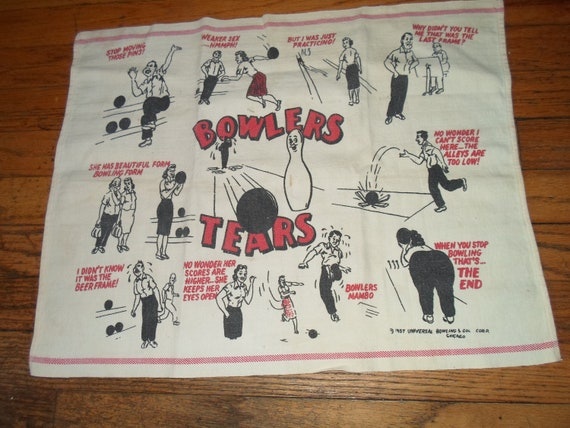 Vintage Dated 1957 Bowler's Towel Cloth Mid Century Bowling Novelty Ready for the Bowler in Your Life Gaming Fun Gift