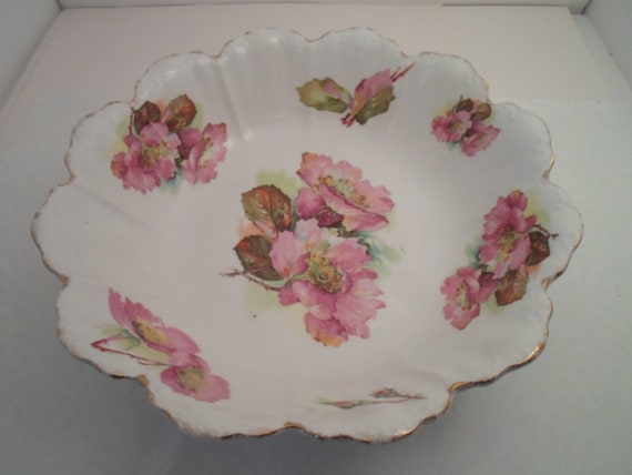 Antique Bavarian Large  Bowl Beautiful Flowers and Outstanding Color Marked RC