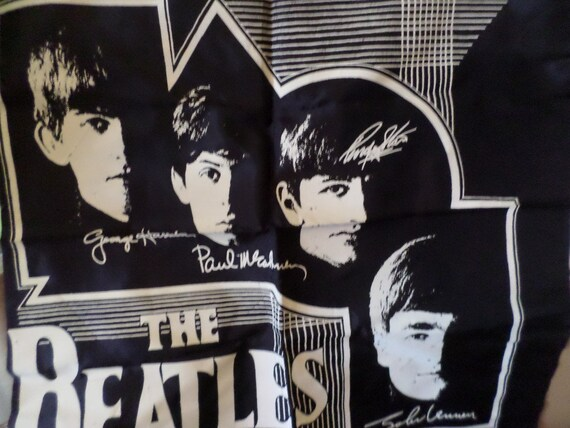 Vintage 60's The Beatles Tapestry black white screen print rare old