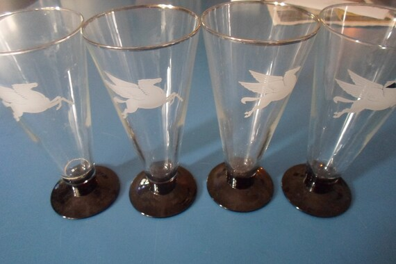 4 Art Deco Original Signed France Footed Highball Glasses Pegasus Mythical Winged Stallion Mobil Oil Symbol Black amethyst hand blown