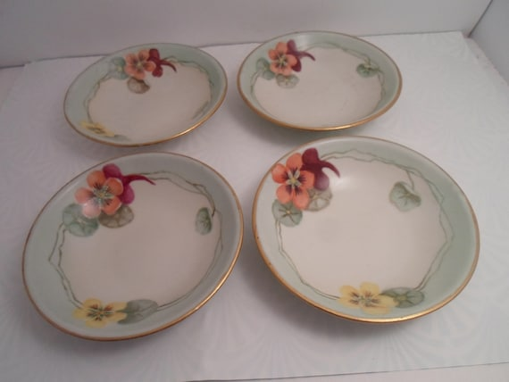 Antique Bavarian 4 Small Desert Bowls Hand Painted Pansies Adorable for ice cream berries pastry