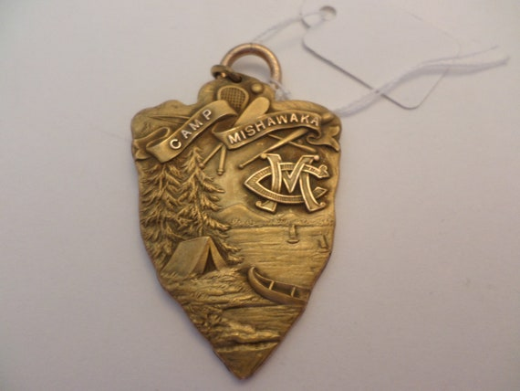 "GP gold 2"" arrowhead vintage Camp Mishawaka pendant charm Chicago"