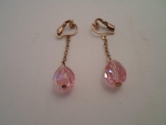 Vintage Iridescent Crystal Tear Drop Earrings Faux Pierced Clip On Pretty in Pink 1970's