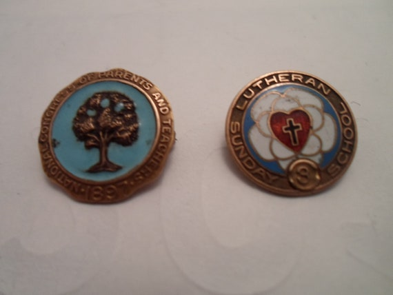 Vintage 2  Gold Filled Enameled Mini Pins Hand Painted Fruit Tree Heart Very Colorful Re Purpose or Use