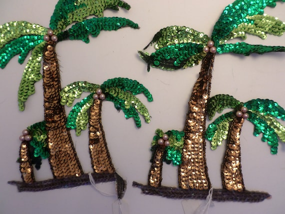 "Vintage 80's 6"" x8"" palm tree applique' sewn on with sequins lovely tropical tiki 2 Pc"