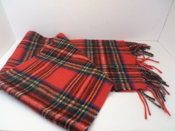 Classic red plaid vintage lambswool scarf McKennas Royal Stewart