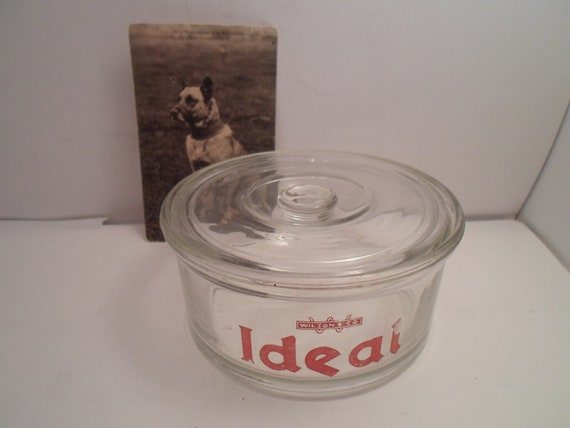 Antique Vintage Advertising Wilson Co Ideal Glass Dog Food Canister with Lid For the Dog Puppy in Your Life Dog Lover Art Deco Era