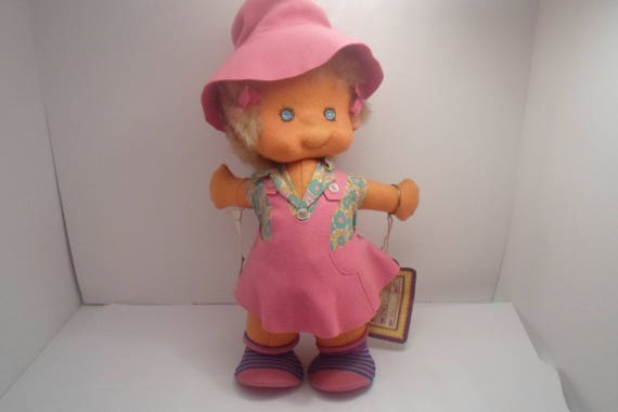 "Vintage Felt Body Artesania Doll made in Madrid Spain Dolly's Own Hand Made Doll Original Tags fuzzy hair 12"" Mary Margaret Lenci Like"