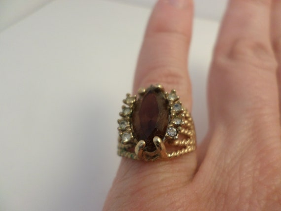 Pretty vintage 60's 18kt GF topaz ring size 5.5 cocktail ring