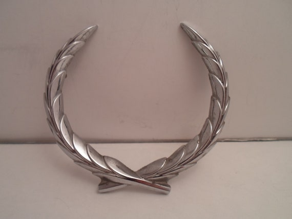 Vintage Cadillac Automobile  Metal Wreath Emblem Hood Ornament 1970's Use or Re purpose