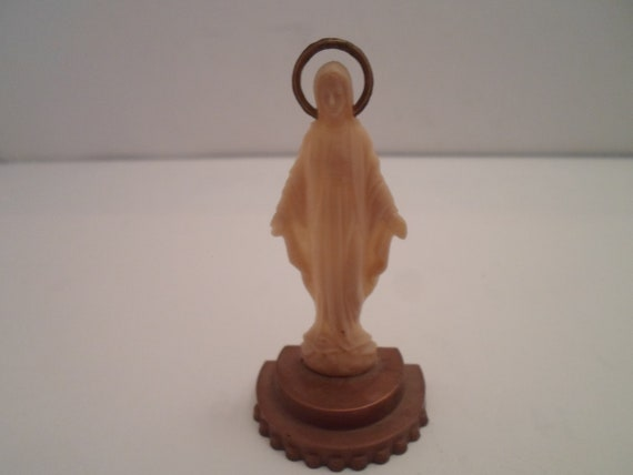 Vintage Celluloid Min Statue Blessed Mary Virgin Immaculate Spiritual Icon Catholic Mother of Jesus