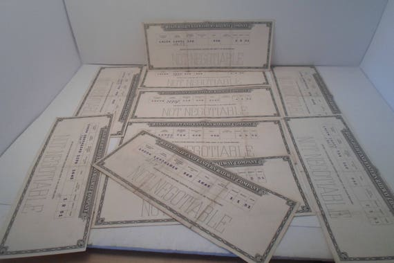 Vintage 1951 Railroad Company Pay Check or Stock Stubs Elgin Joilet & Eastern Railway Collect or Repurpose 10 in all nice to frame