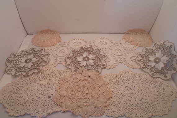 Antique Lot of 9 Crocheted Items Hair Pin Lace Punched Out Lace Use or Re purpose Shabby Chic