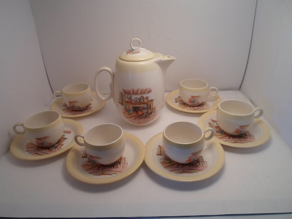 Vintage Homer Laughlin Colonial Kitchen Coffee Tea Pot and 6 Demitasse Cups with Saucers Adorable Rare Perfect