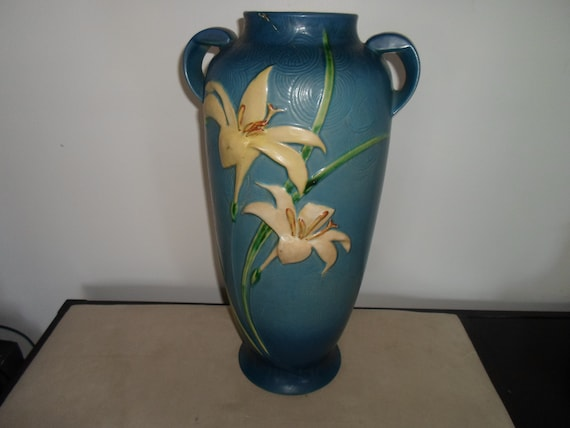 """Antique Roseville Zepher Lily Large Floor Vase 142 18"""" Stunning Colors Art Deco Era Farm to City Chic As Is Found Condition"""