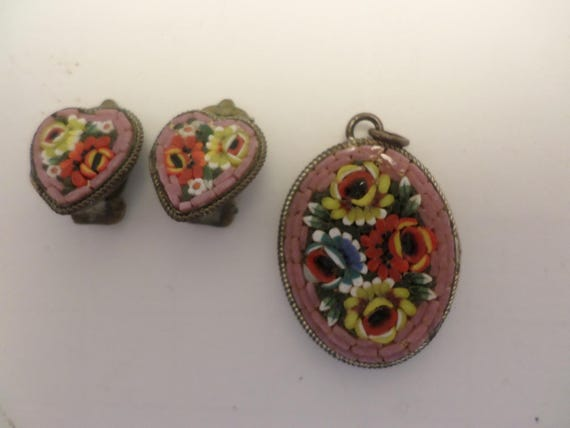 Micro mosiac pendant and clip vintage earrings heart shaped mauve rare color Made in Italy