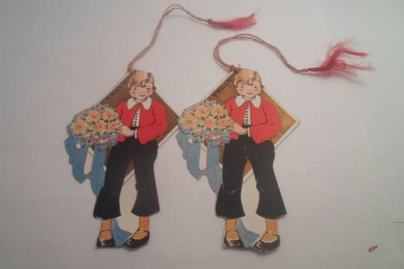Art Deco 2 Vintage Original Tally Cards Orphan Annie Design Character Stylized Clothes Courting Boquet Use Repurpose