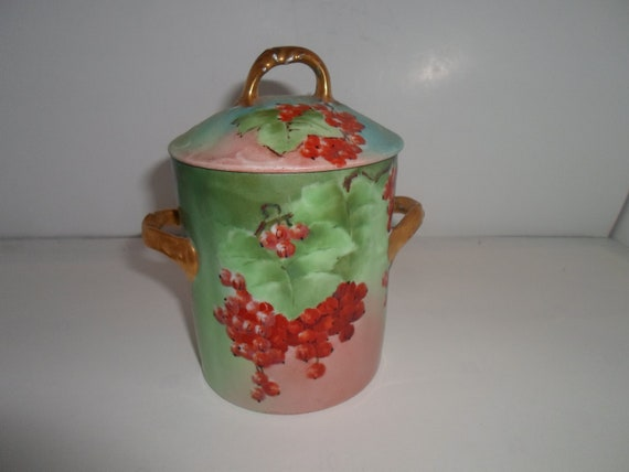 Antique Belleek Limoges China Lidded  2 Handle Trembleuse Hand Painted Artist Signed Covered Mug