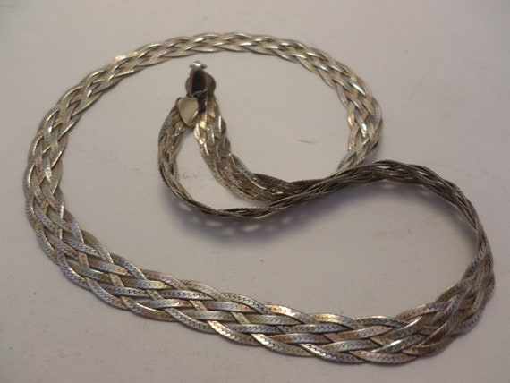 Vintage 6 rope braided Sterling silver necklace Made in Italy 925 FAS