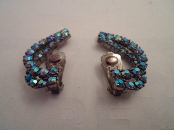 Vintage Art Deco Blue Opal Rhinestone Climbing Clip Earrings Glam Glitz Wedding Adorable