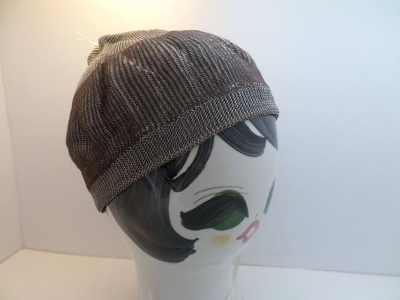 Authentic 1920's deco flapper silky skull cap beanie brown white so sweet