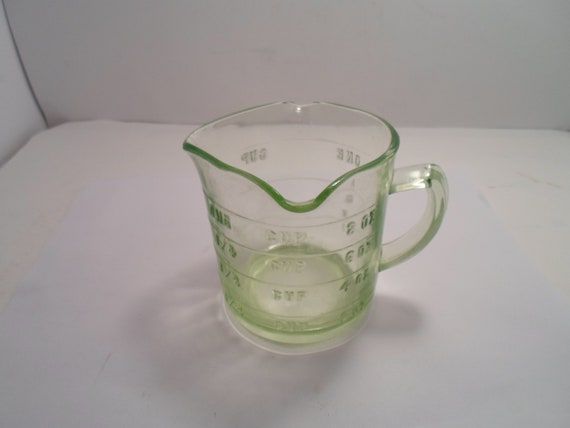Antique Depression Uranium Green Glass Measuring Cup 3 SPOUT Farm House or Cottage Chic Glow Green Glass