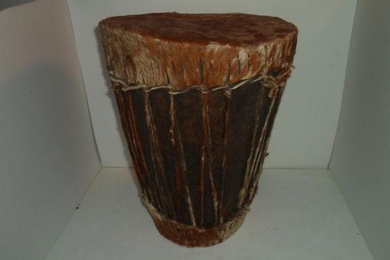 "Vintage Tribal Animal Skin Wood Hand Drum Hand Made Tall 13.50""tall  x 10"" wide Decorator Chic Native Tiki Cool"
