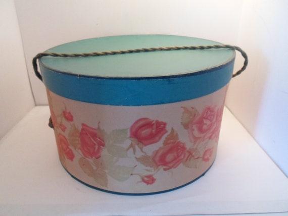 Antique Vintage Art Deco Hat Box Floral Roses Soft Rope Handle Cottage Chic Decorator cool