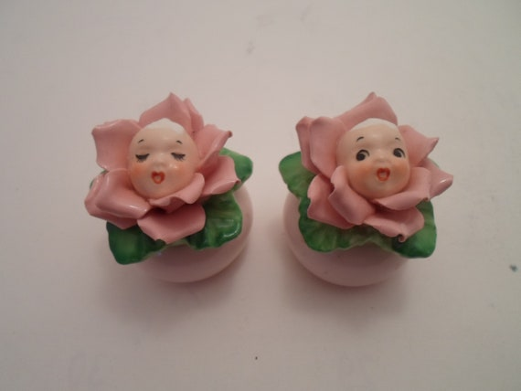 Vintage Anne Geddes Style Baby Face in Pink Flower Anthropomorphic Salt and Pepper Shakers Adorable Mini Wide Eyes and Sleeping Babies