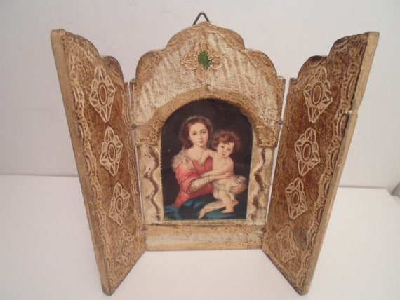 Vintage Madonna and Child Religious Triptych Folding Gold Leaf Icon Frame Altar Piece