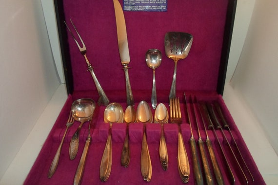 Antique R.Wallace Silverplate Flatware Set Service with Serving Pieces & Carving Knife and Fork In Original Box Farm to Table Ready